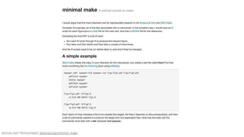 """Broman, Karl """"Minimal Make"""", kbroman.org/minima..."""