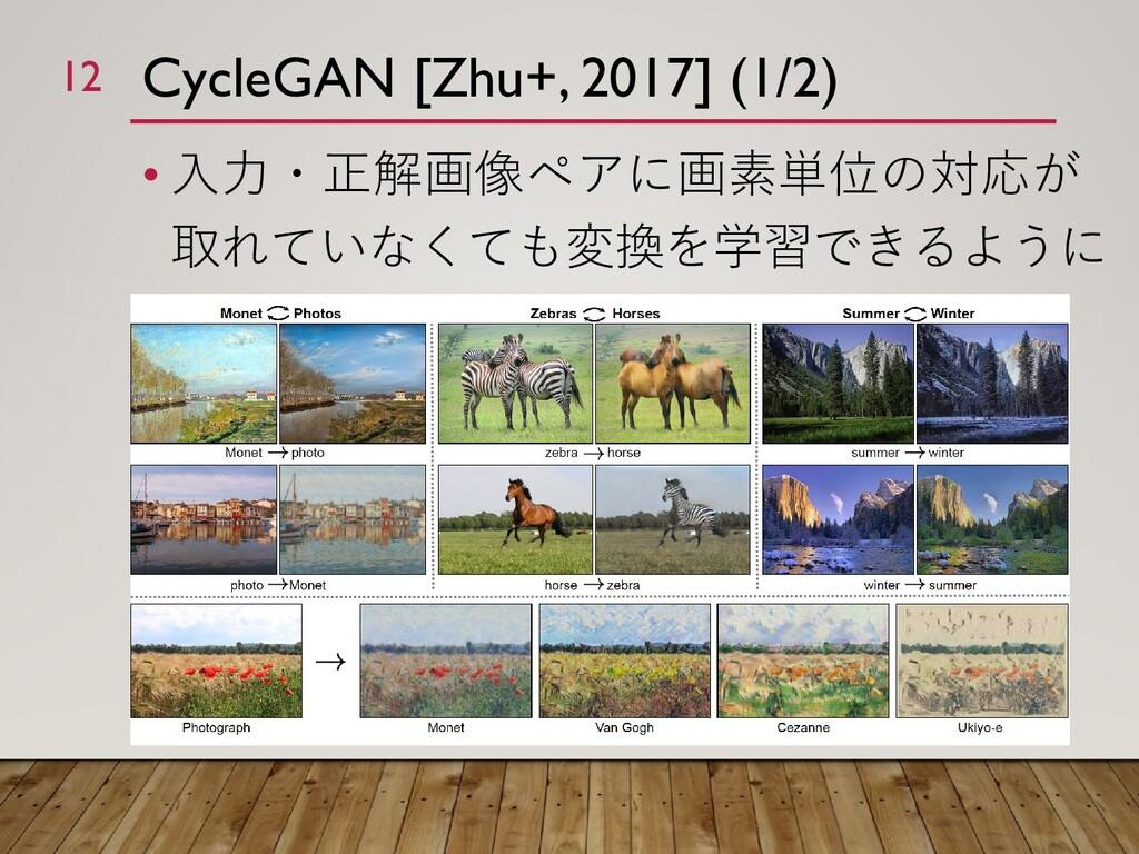 CycleGAN [Zhu+, 2017] (1/2) • 入力・正解画像ペアに画素単位の対応...