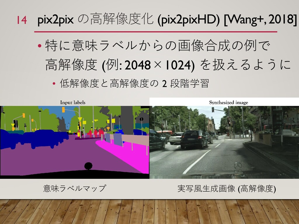 pix2pix の高解像度化 (pix2pixHD) [Wang+, 2018] • 特に意味...