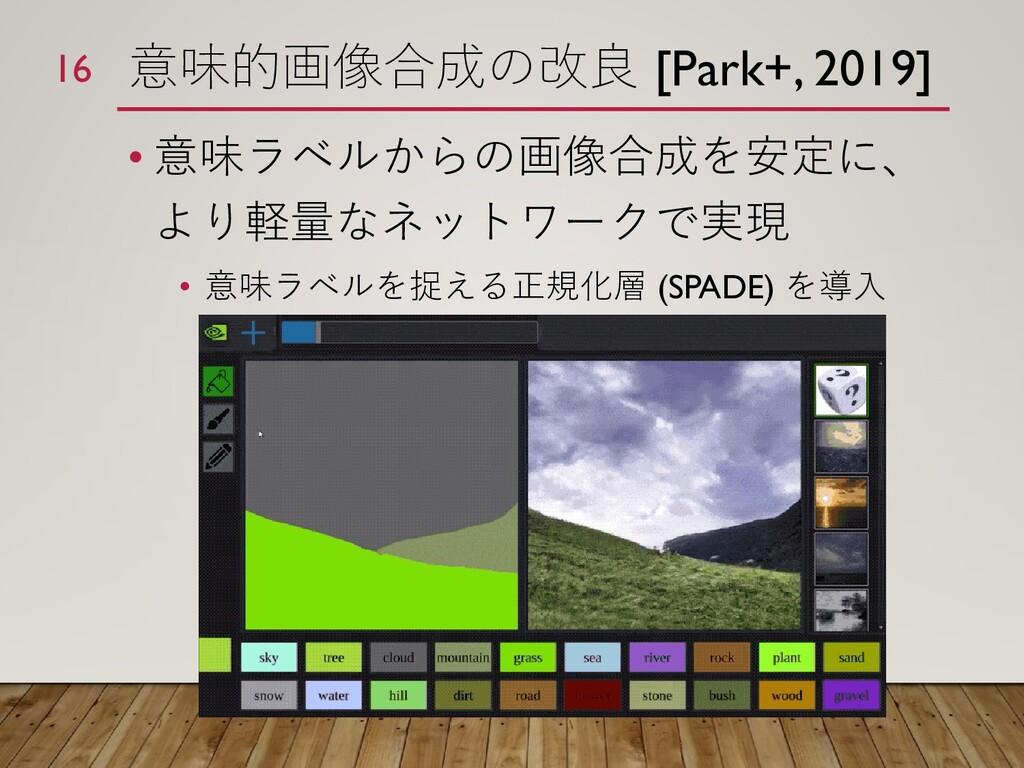 意味的画像合成の改良 [Park+, 2019] • 意味ラベルからの画像合成を安定に、 より...
