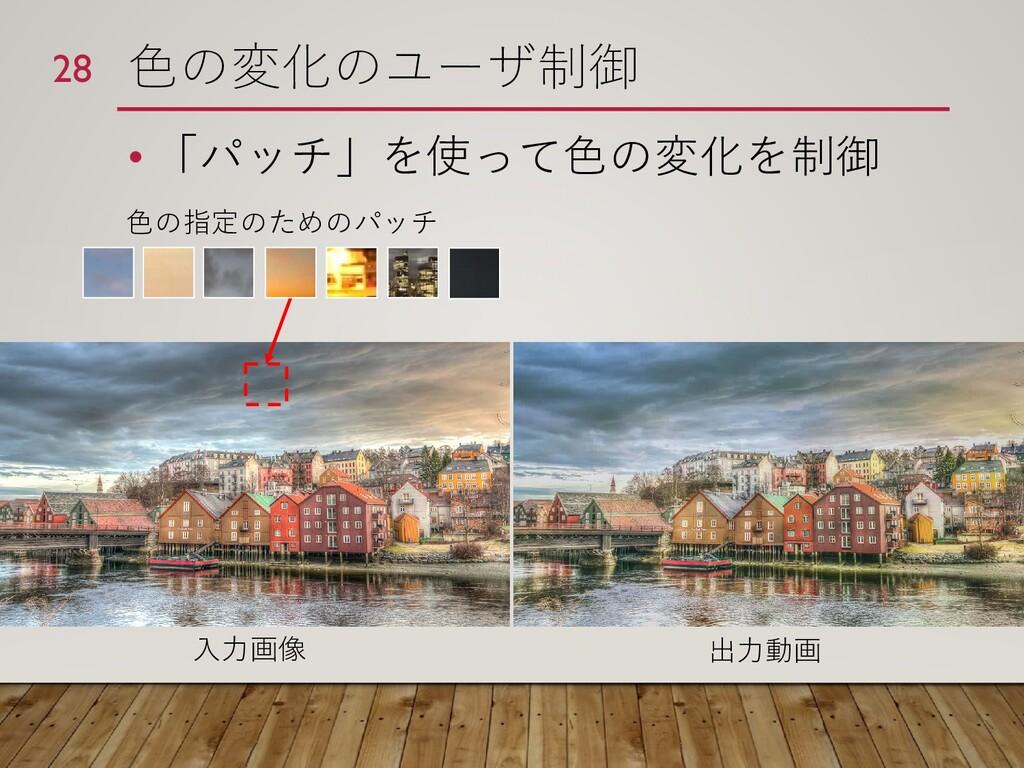 色の変化のユーザ制御 • 「パッチ」を使って色の変化を制御 28 色の指定のためのパッチ 入力...