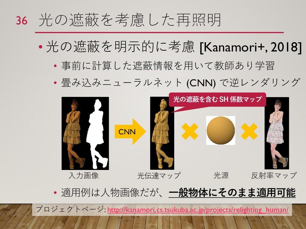 光の遮蔽を考慮した再照明 • 光の遮蔽を明示的に考慮 [Kanamori+, 2018] • ...