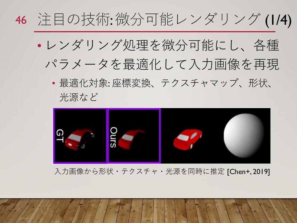 注目の技術: 微分可能レンダリング (1/4) • レンダリング処理を微分可能にし、各種 パラ...