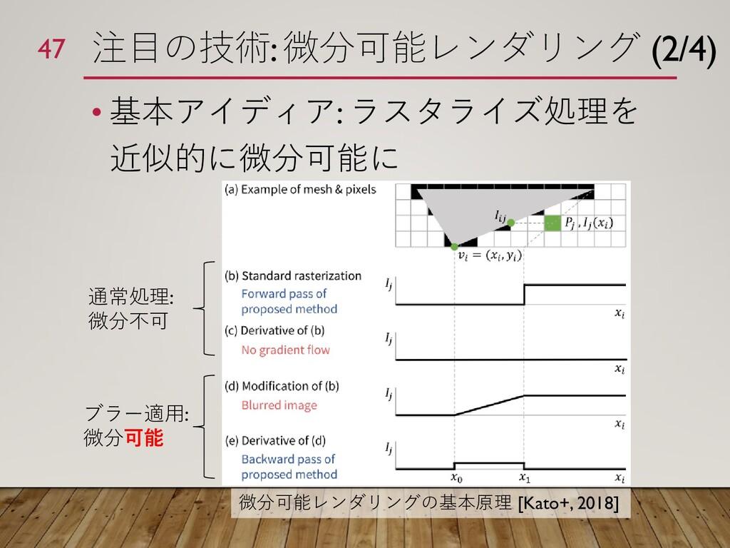 注目の技術: 微分可能レンダリング (2/4) • 基本アイディア: ラスタライズ処理を 近似...