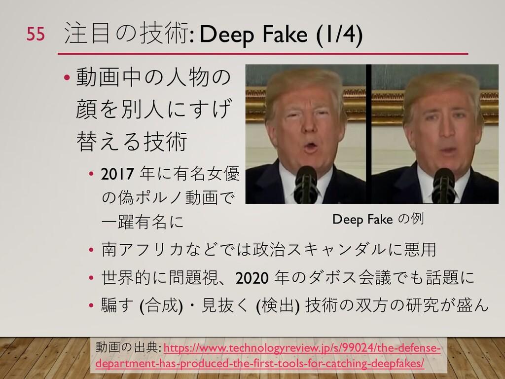 注目の技術: Deep Fake (1/4) • 動画中の人物の 顔を別人にすげ 替える技術 ...