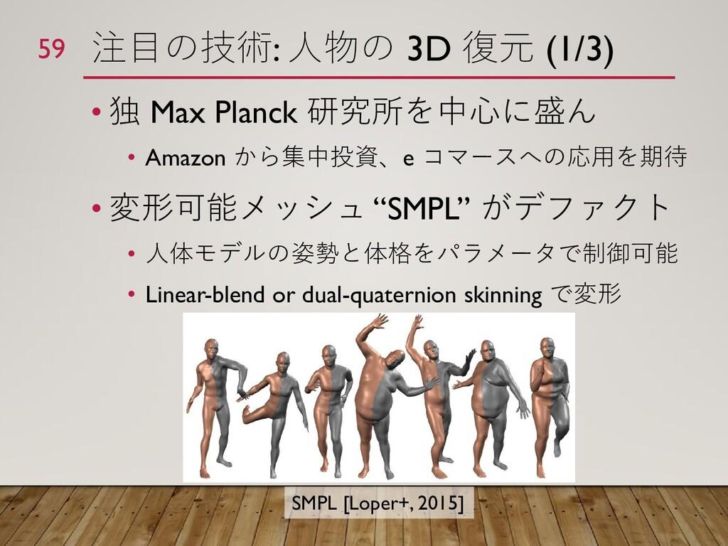 注目の技術: 人物の 3D 復元 (1/3) • 独 Max Planck 研究所を中心に盛ん...