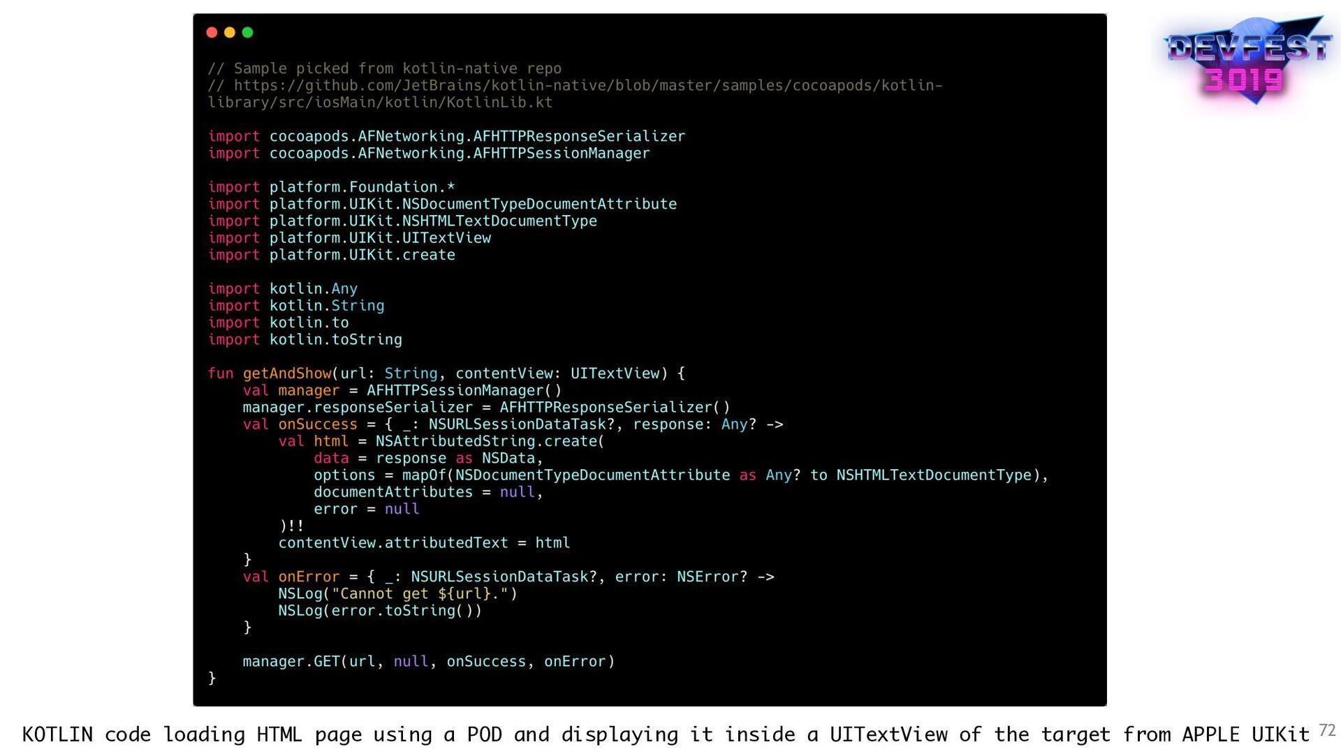 72 KOTLIN code loading HTML page using a POD an...