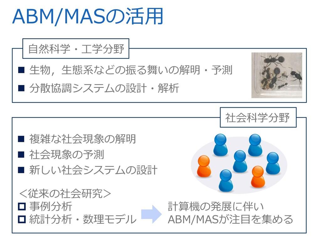 ABM/MASの活⽤  ⽣物,⽣態系などの振る舞いの解明・予測  分散協調システムの設計・...