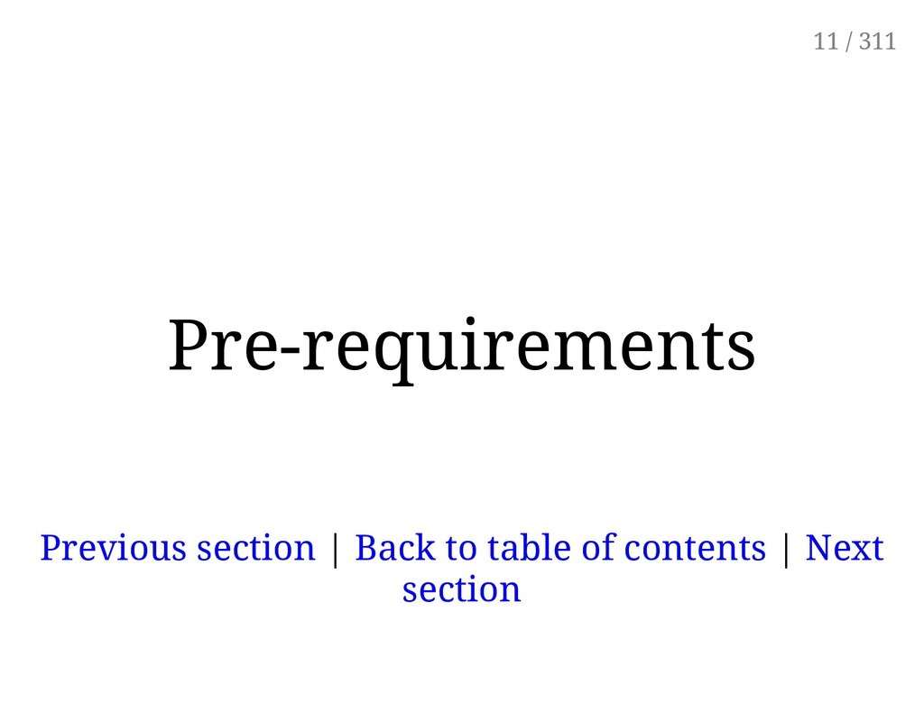 Pre-requirements Previous section | Back to tab...