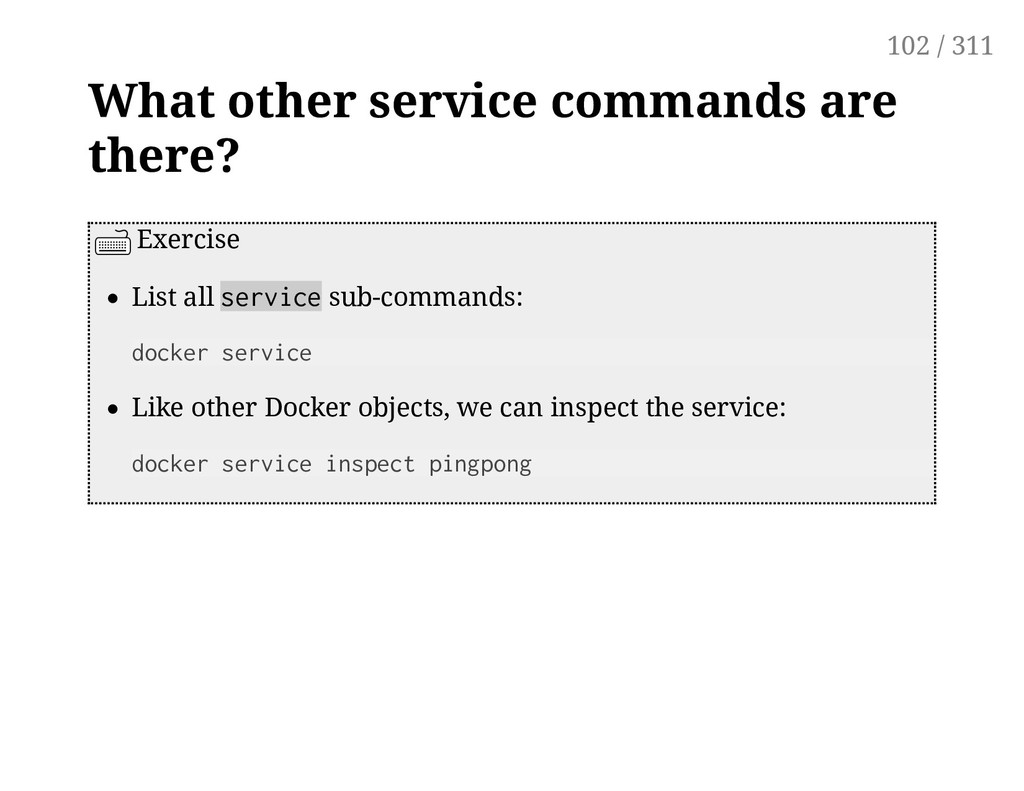 What other service commands are there? Exercise...