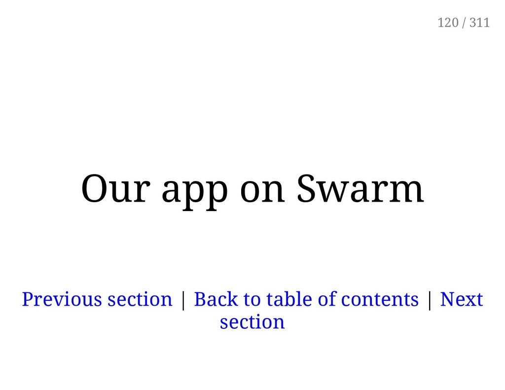 Our app on Swarm Previous section | Back to tab...