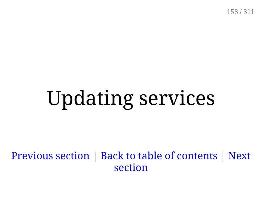 Updating services Previous section | Back to ta...