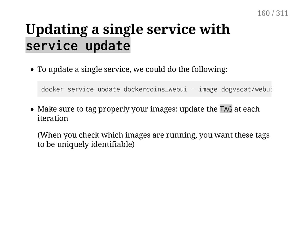 Updating a single service with service update T...