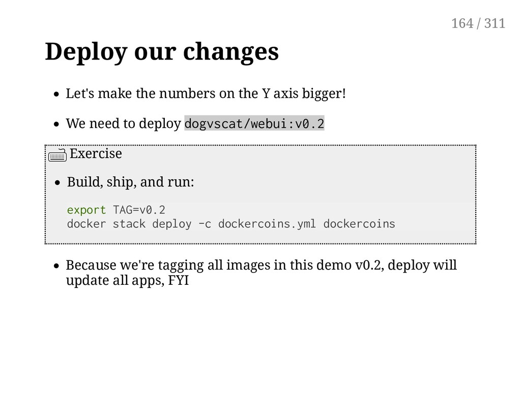 Deploy our changes Let's make the numbers on th...