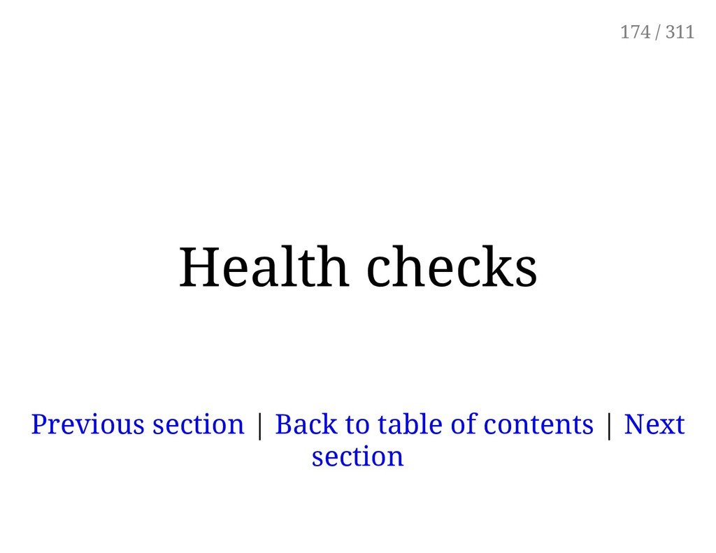 Health checks Previous section | Back to table ...