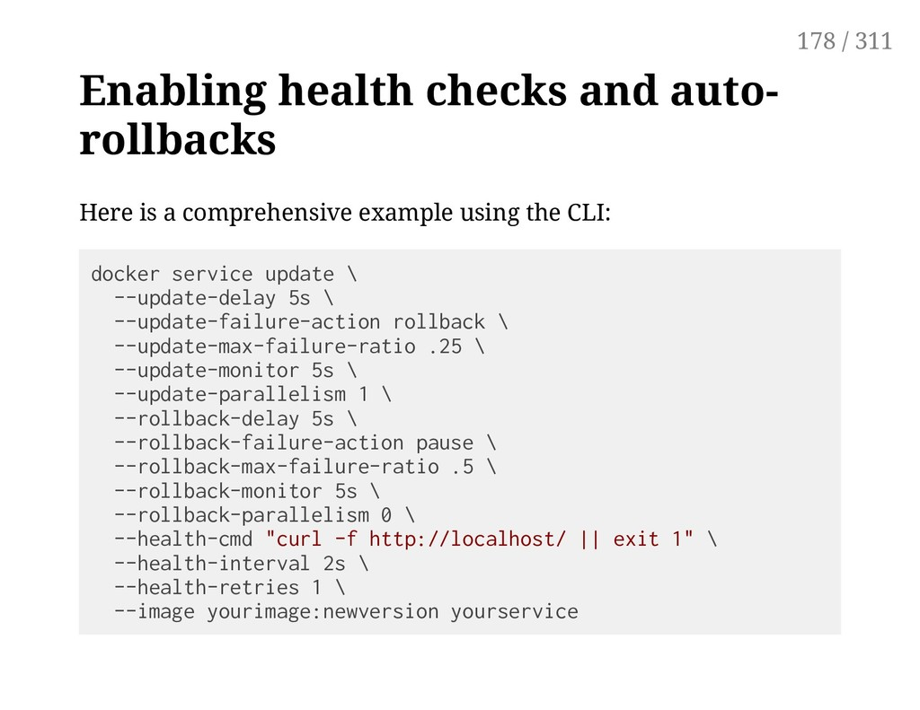 Enabling health checks and auto- rollbacks Here...