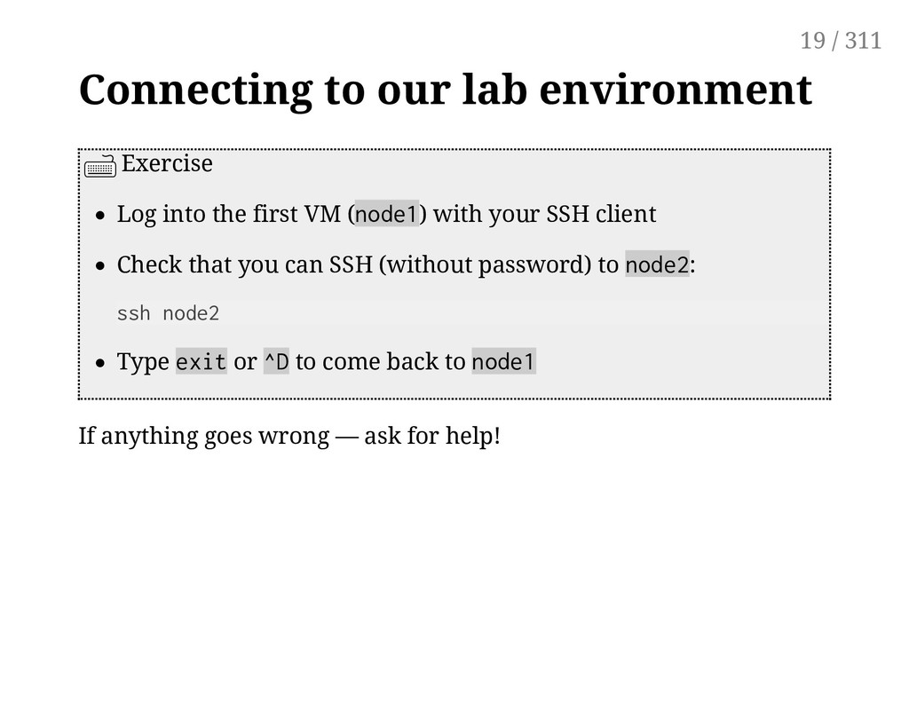 Connecting to our lab environment Exercise Log ...
