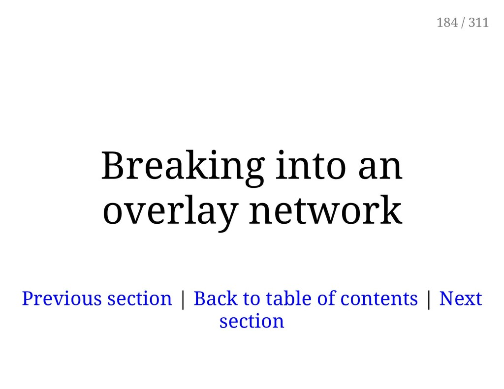 Breaking into an overlay network Previous secti...