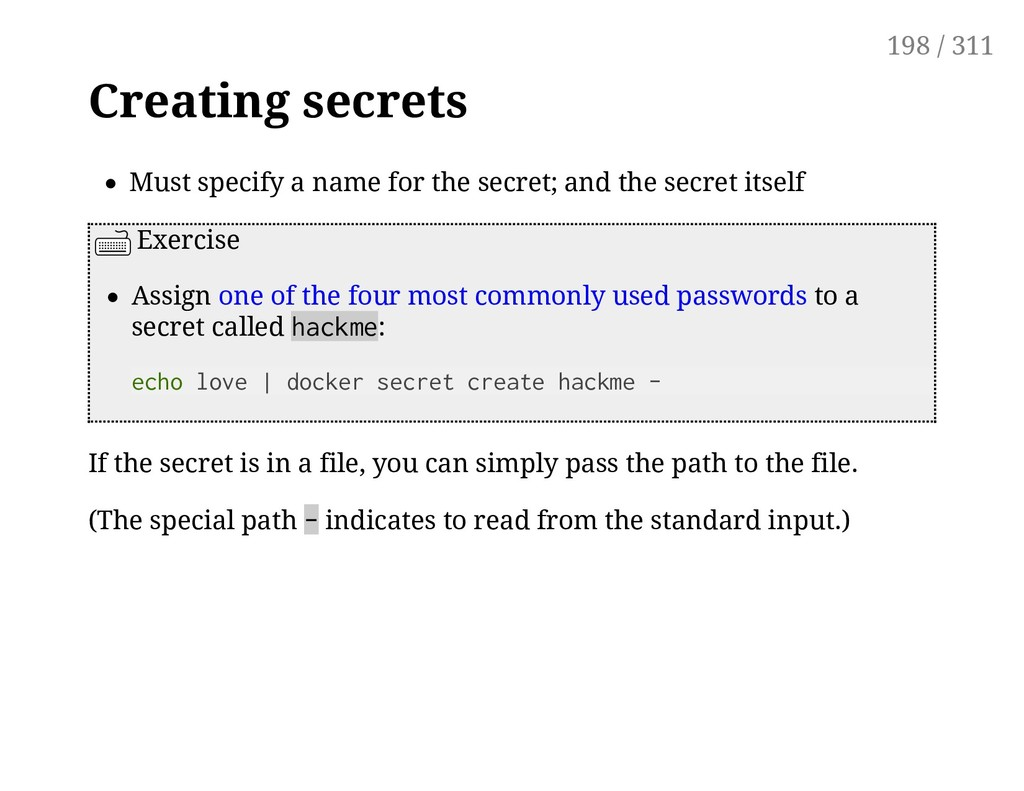 Creating secrets Must specify a name for the se...