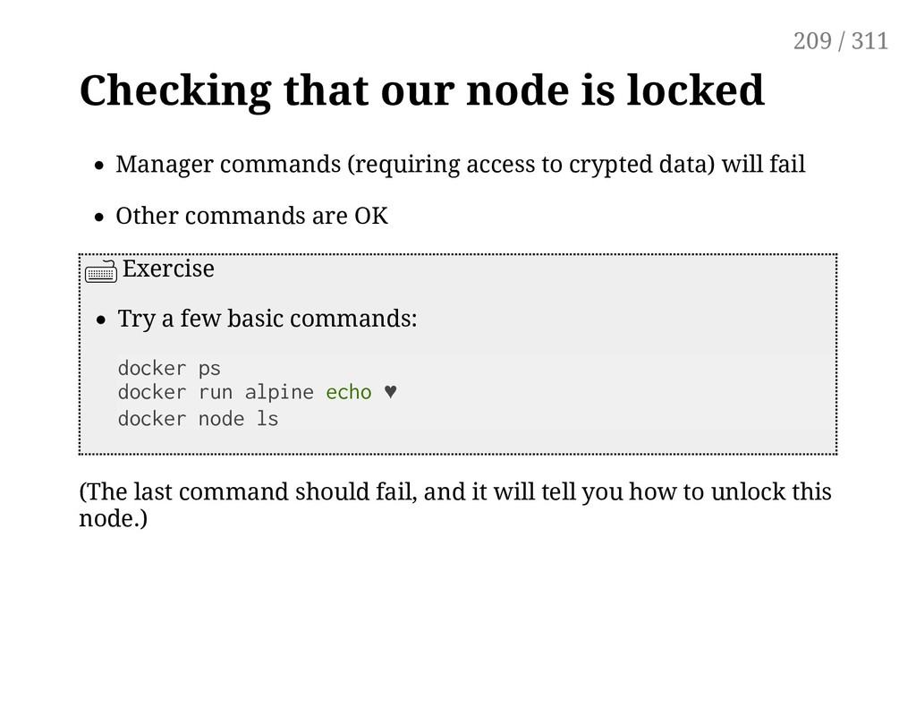 Checking that our node is locked Manager comman...