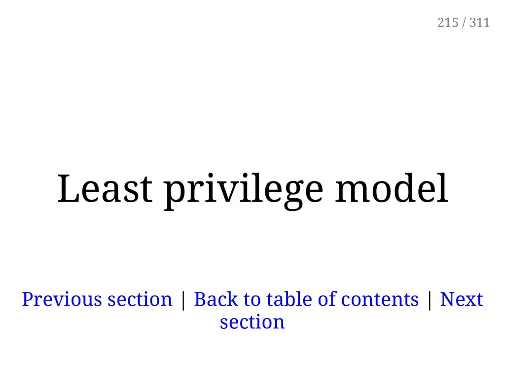 Least privilege model Previous section | Back t...