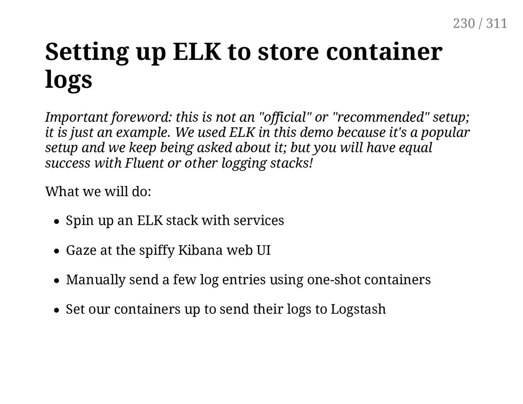 Setting up ELK to store container logs Importan...