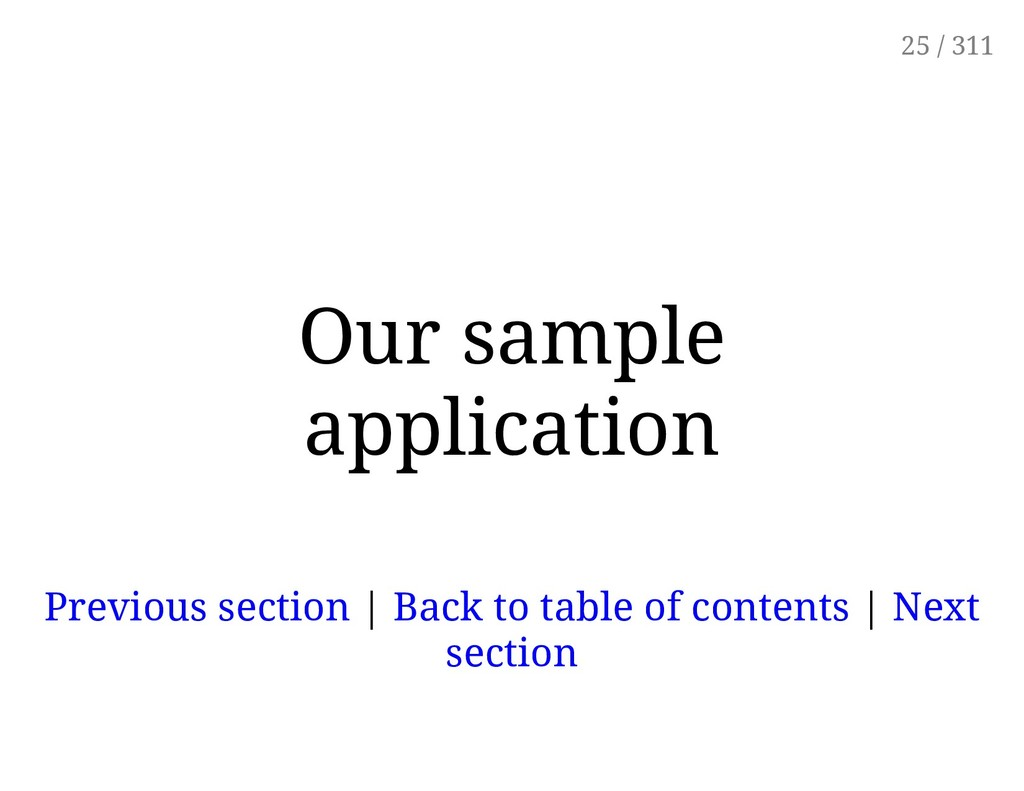 Our sample application Previous section | Back ...