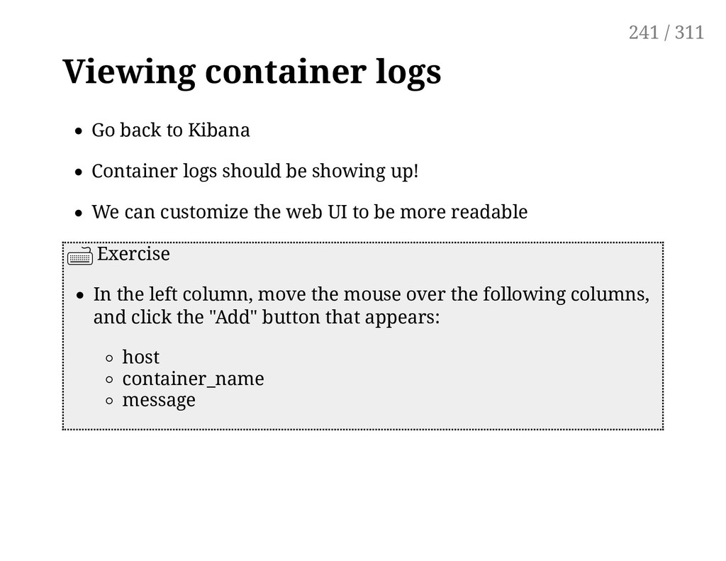 Viewing container logs Go back to Kibana Contai...