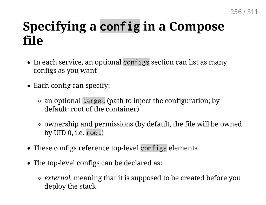 Specifying a config in a Compose file In each s...