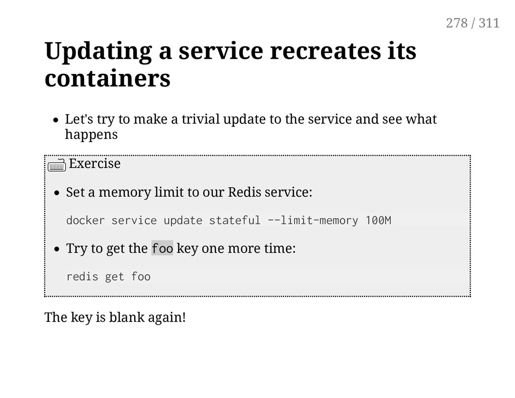 Updating a service recreates its containers Let...
