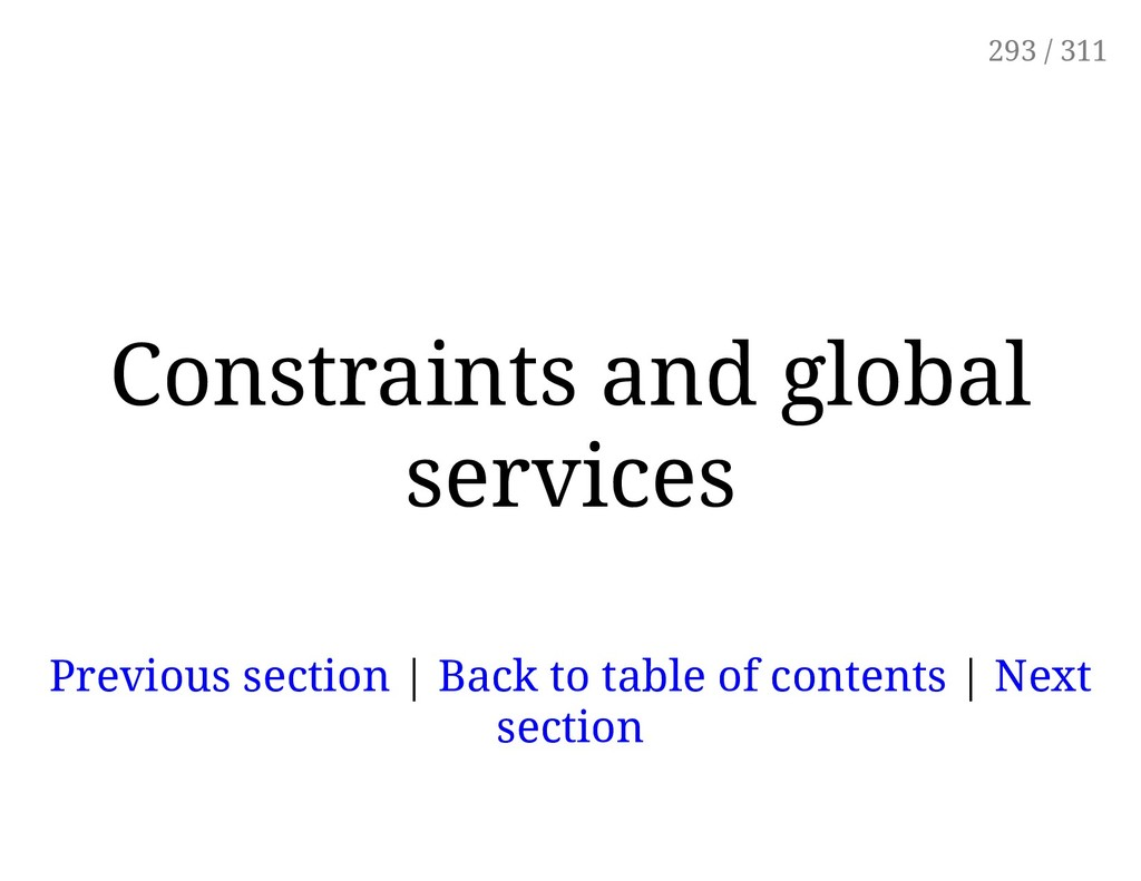 Constraints and global services Previous sectio...