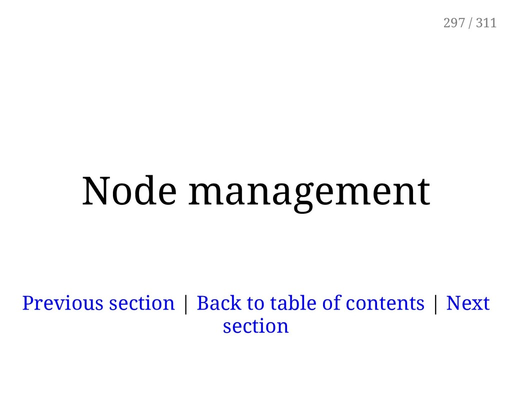 Node management Previous section | Back to tabl...