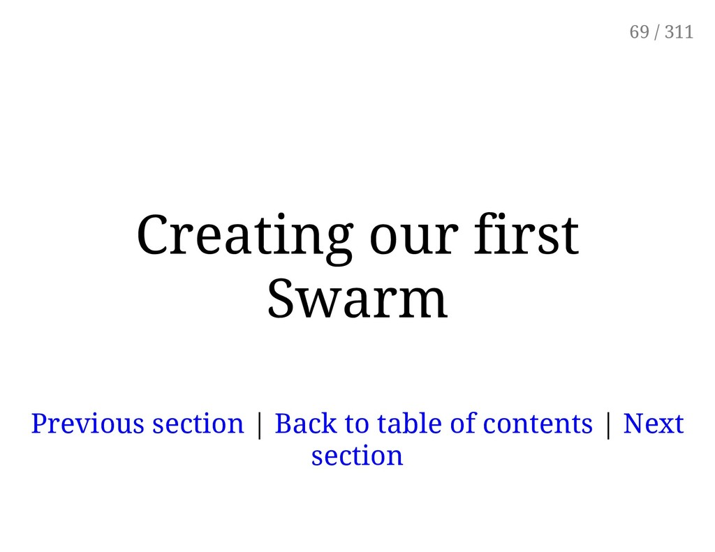 Creating our first Swarm Previous section | Bac...