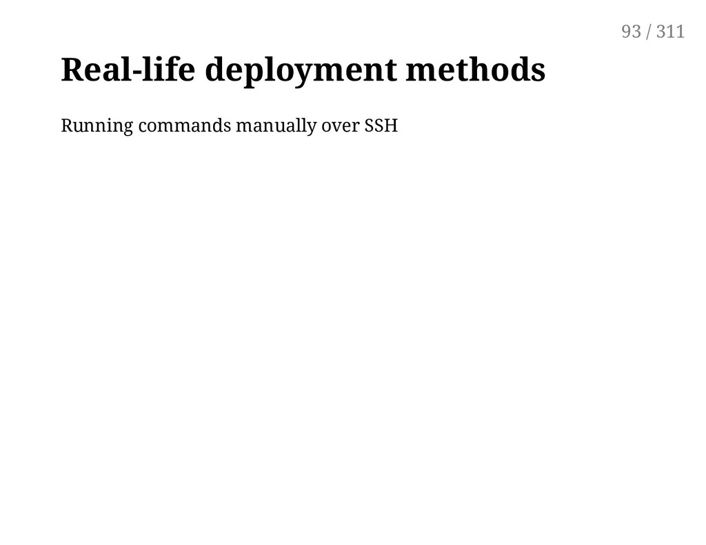 Real-life deployment methods Running commands m...
