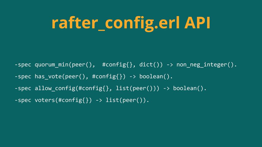 rafter_config.erl API -‐spec quorum_min(peer...