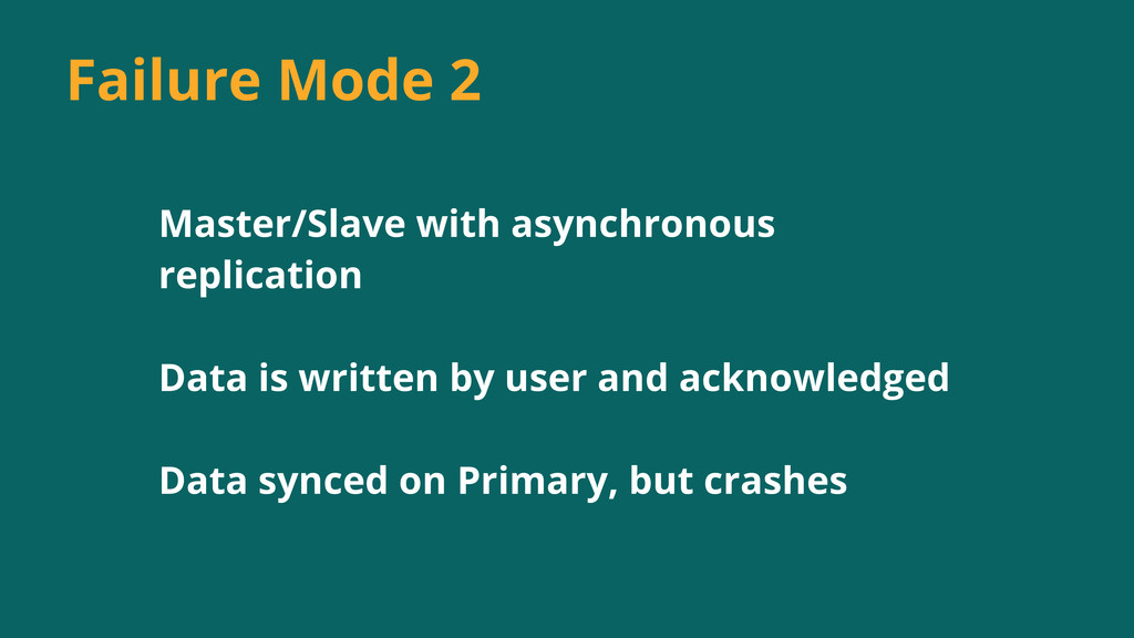 Master/Slave with asynchronous replication Data...