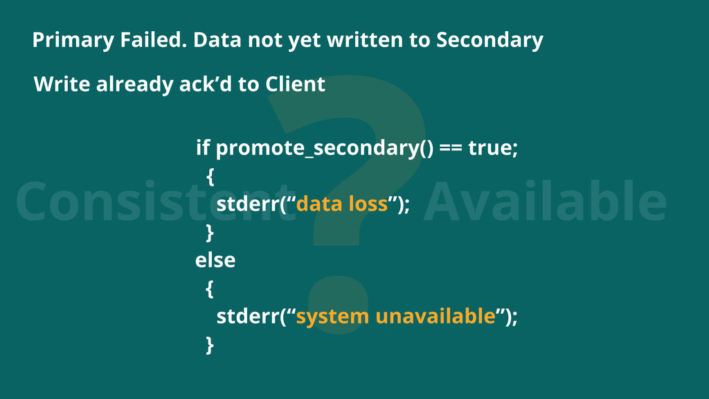 ? Consistent Available Primary Failed. Data not...