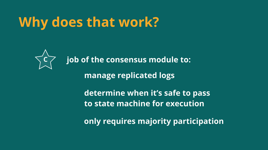 Why does that work? job of the consensus module...