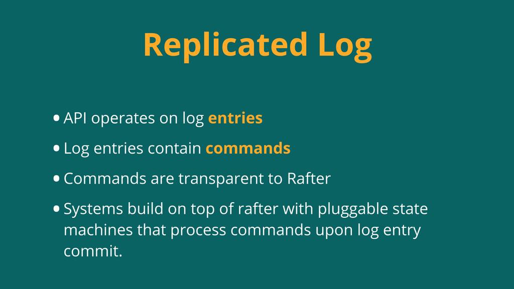 Replicated Log •API operates on log entries •Lo...