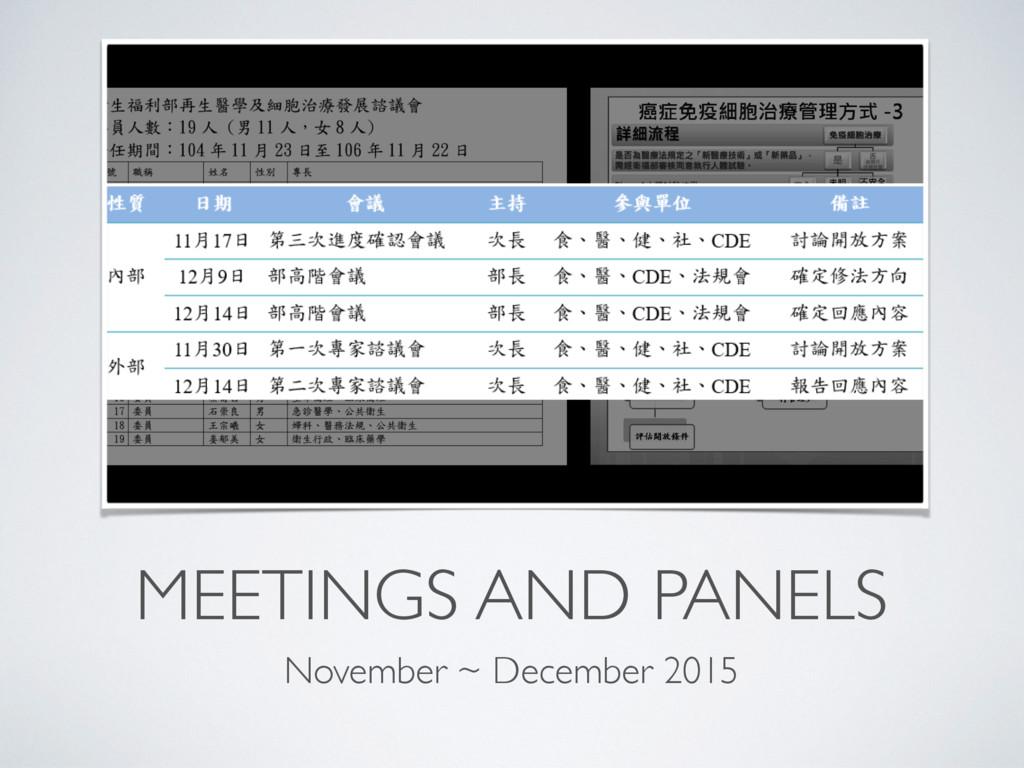 MEETINGS AND PANELS November ~ December 2015