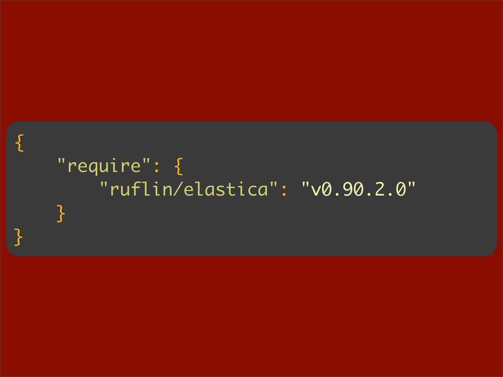"""{ """"require"""": { """"ruflin/elastica"""": """"v0.90.2.0"""" }..."""