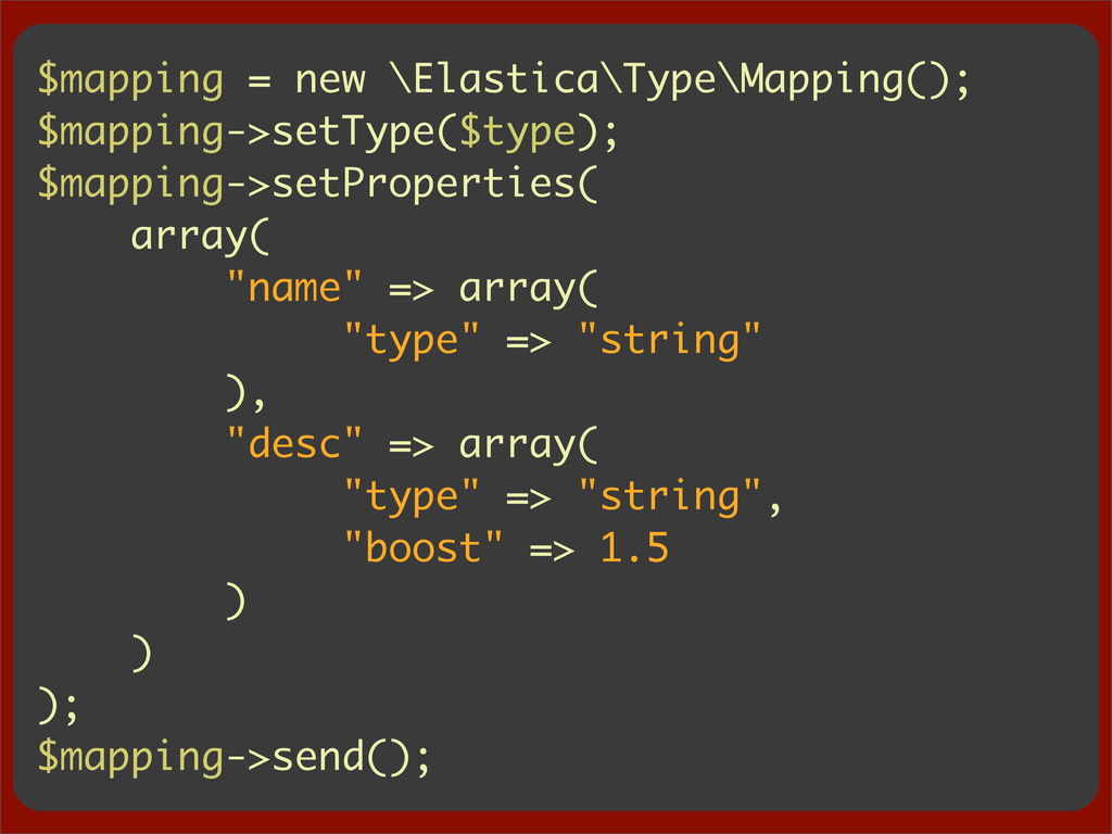 $mapping = new \Elastica\Type\Mapping(); $mappi...