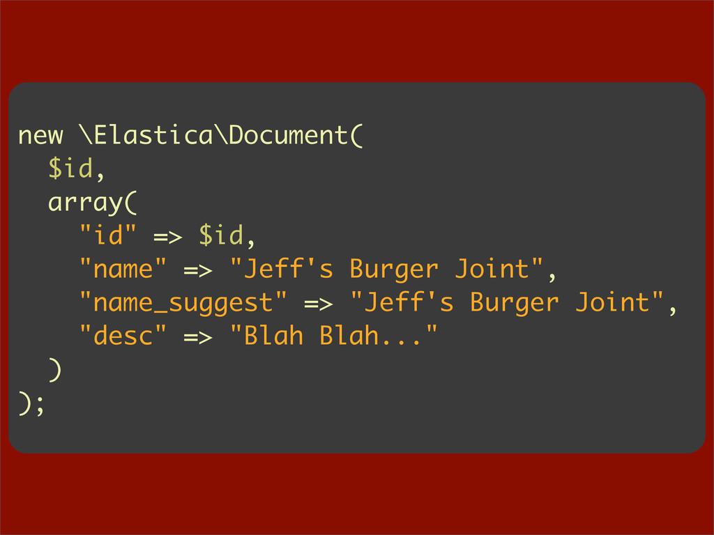 "new \Elastica\Document( $id, array( ""id"" => $id..."