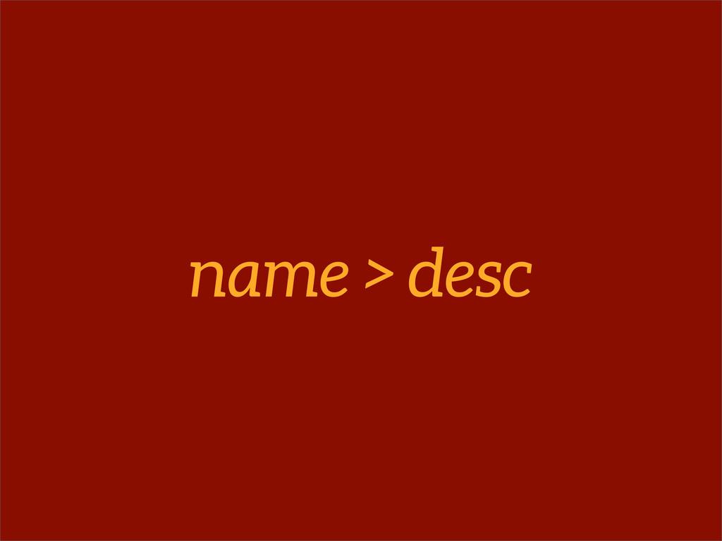 name > desc