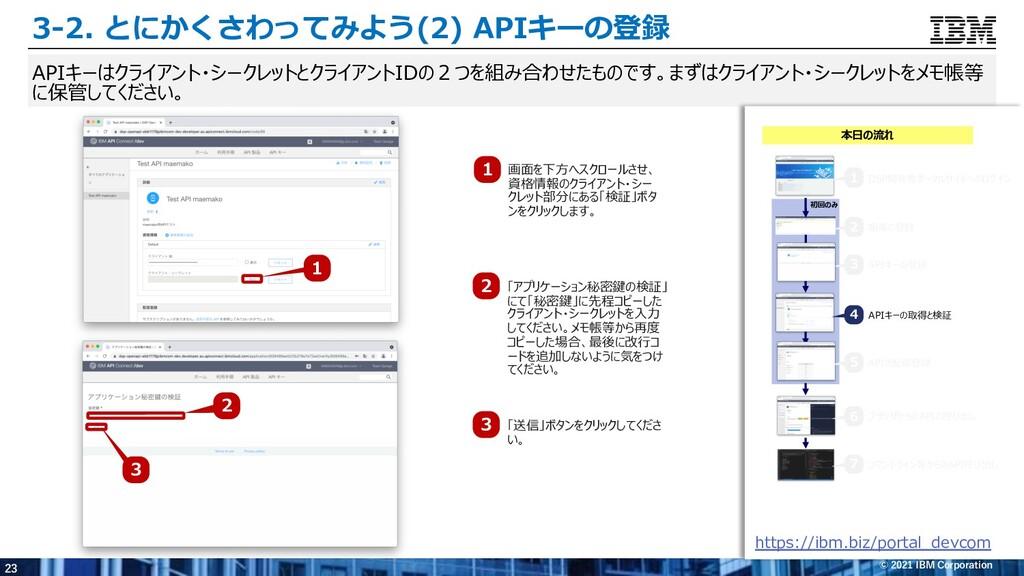 23 © 2021 IBM Corporation 3-2. とにかくさわってみよう(2) A...