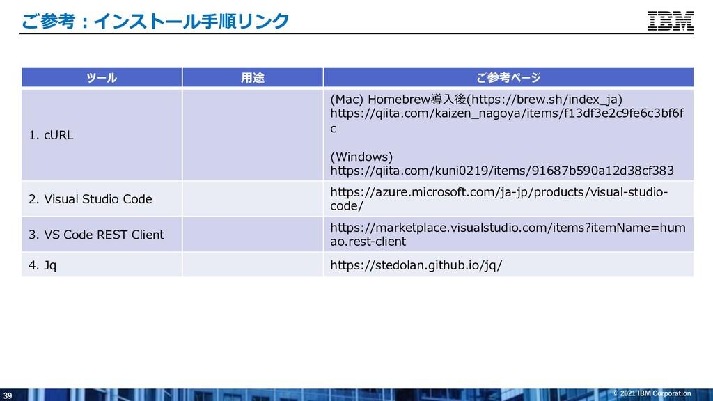 39 © 2021 IBM Corporation ご参考︓インストール⼿順リンク ツール ⽤...