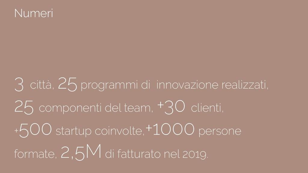 3 città, 25 programmi di innovazione realizzati...
