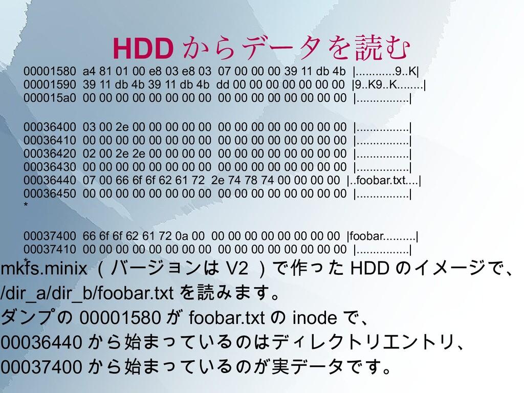 HDD からデータを読む 00001580 a4 81 01 00 e8 03 e8 03 0...