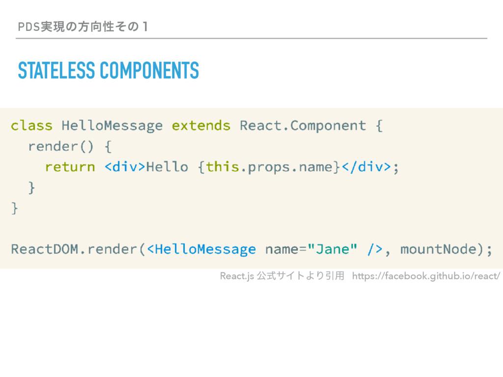 PDS࣮ݱͷํੑͦͷ̍ STATELESS COMPONENTS React.js ެࣜαΠ...